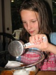 Mixing the pie ingredients